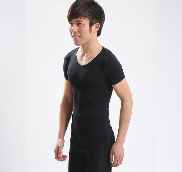 Rhinestone High quality V Neck Men's Taping Inner short Sleeve Slimming Shaper tshirt