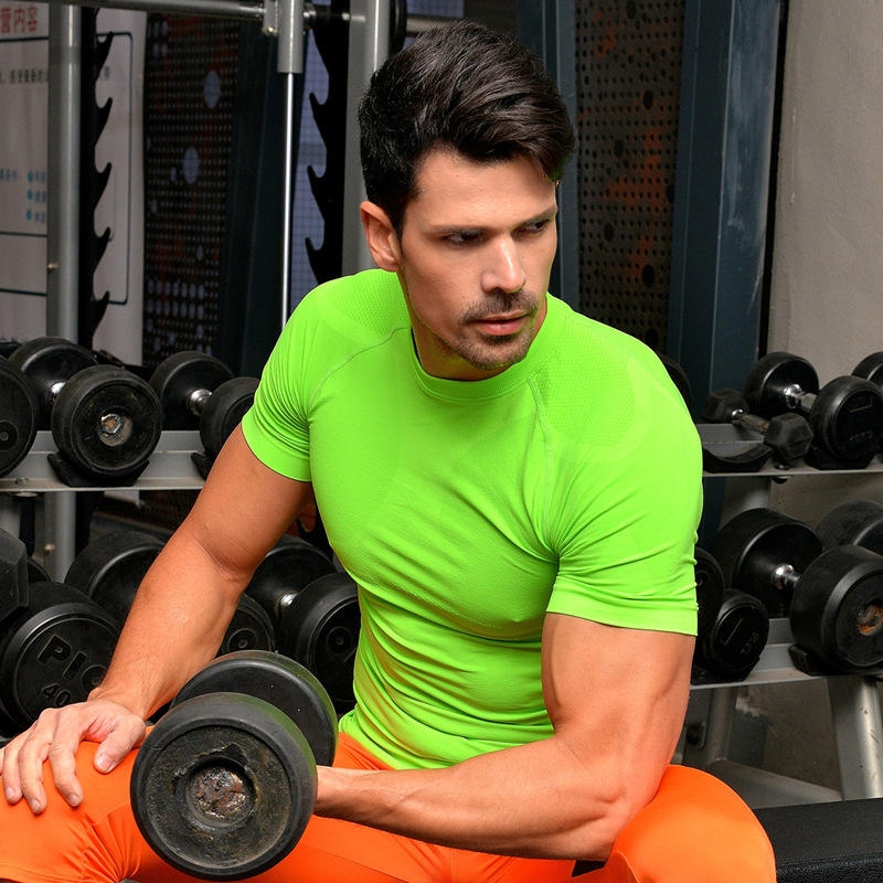 High quality men compression t shirt tights fitness men quick dry fit sportswear