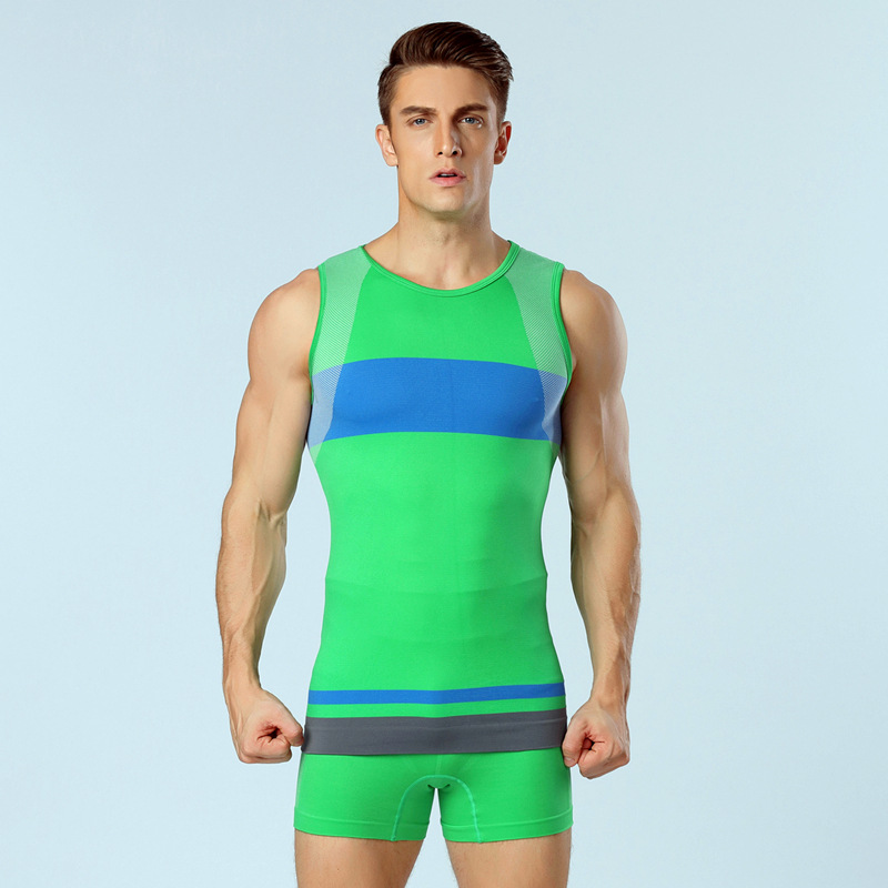 New hit color super elasticity seamless men's Compressed T Shirt quick – drying body sculpting tights vest Training Wear