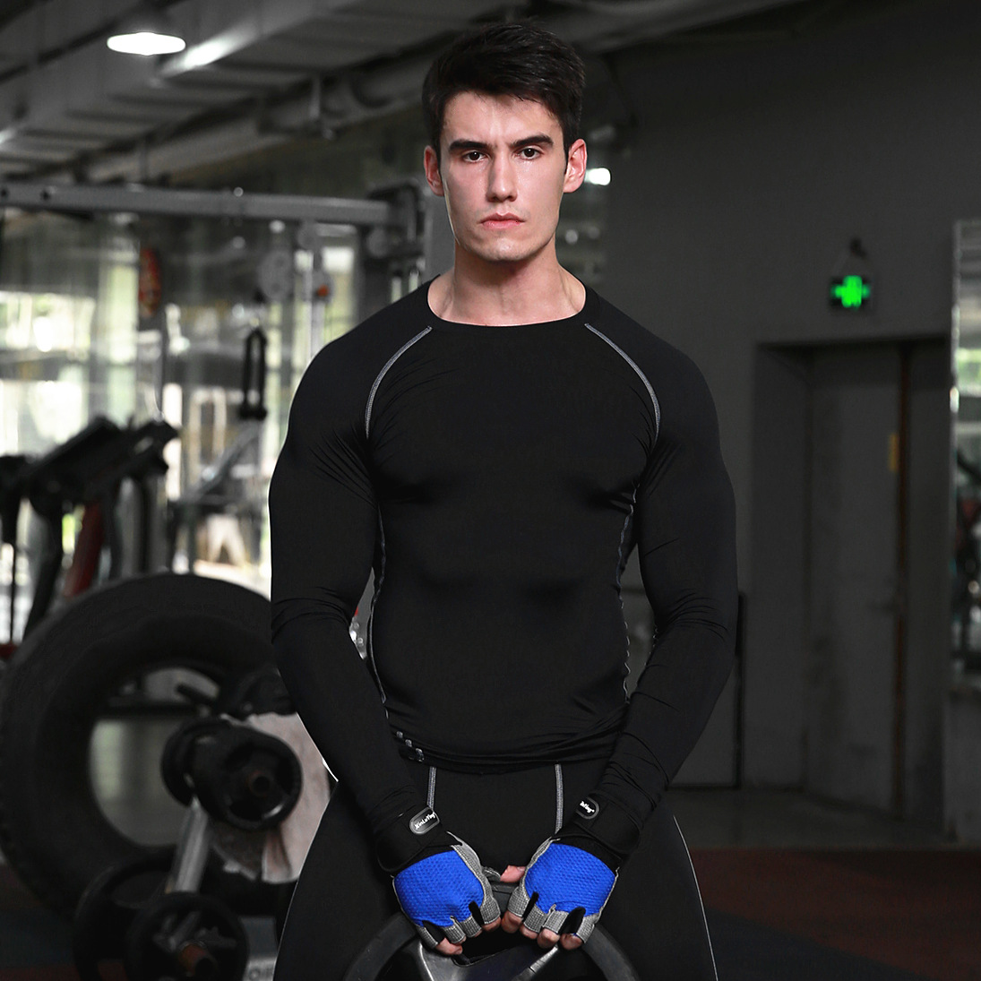 Mens Compression Tight long Sleeve Shirts Base Layers Skinny T Shirts Male Sport Workout Fitness Training Gym Wear