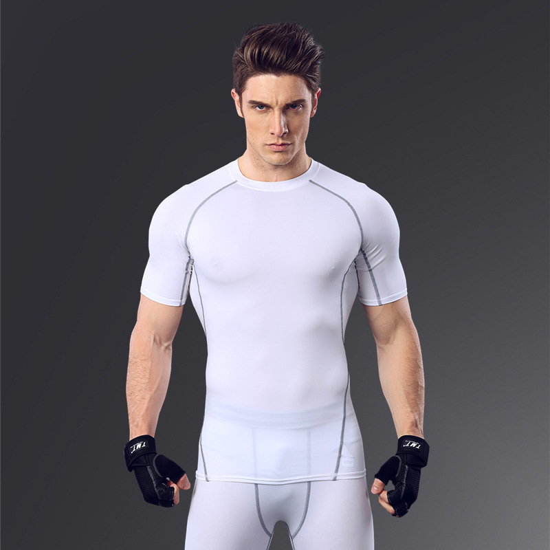 Training wear fitness clothes men stretch compression quick dry sports clothing short sleeve t shirt