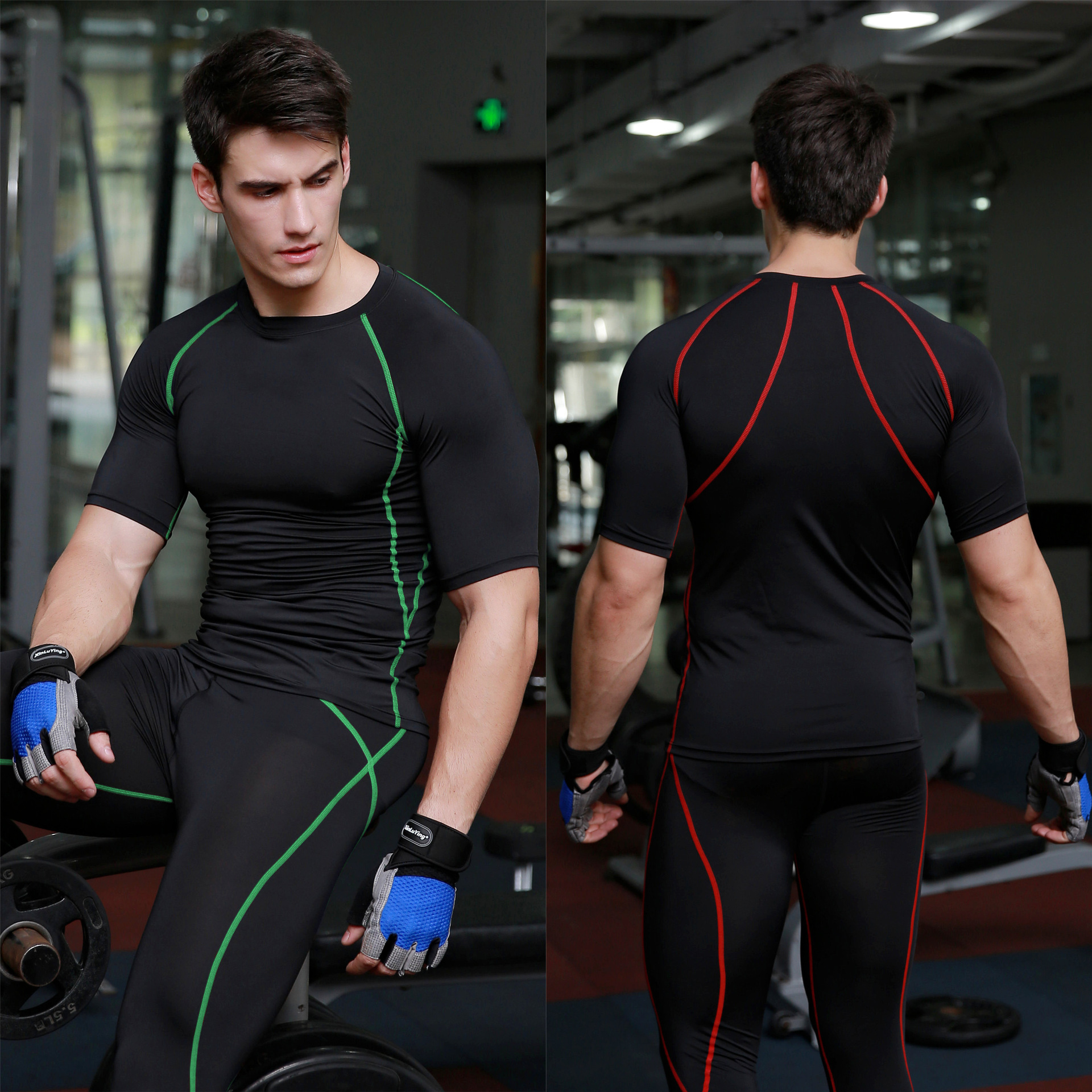 Men Compression Shirt Stretchy Quick Drying Tights Gym Fitness Training T-shirt