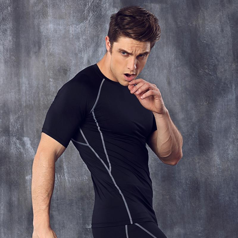 Fitness clothes men running clothes crane sportswear elastic compression gym wear