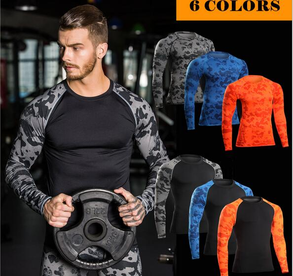Camouflage Fitness Wear Running Training Clothing Muscle T Shirt Elastic Compression Quick Drying Sports Tights Long Sleeve