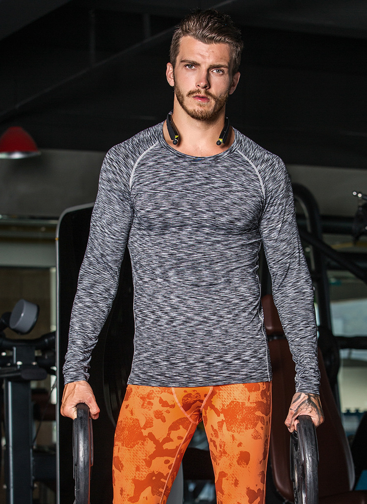 Sports wear mens Fitness Wear Tights Long Sleeves Running Elasticity Quick – drying t – shirt breathable round neck T – shirt