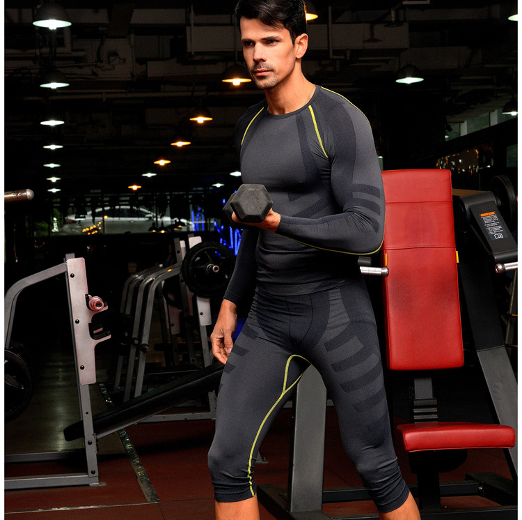 New men's Cotton Lined Sports Pants body sculpting pants soft breathable comfortable quick – drying seven point pants Legging