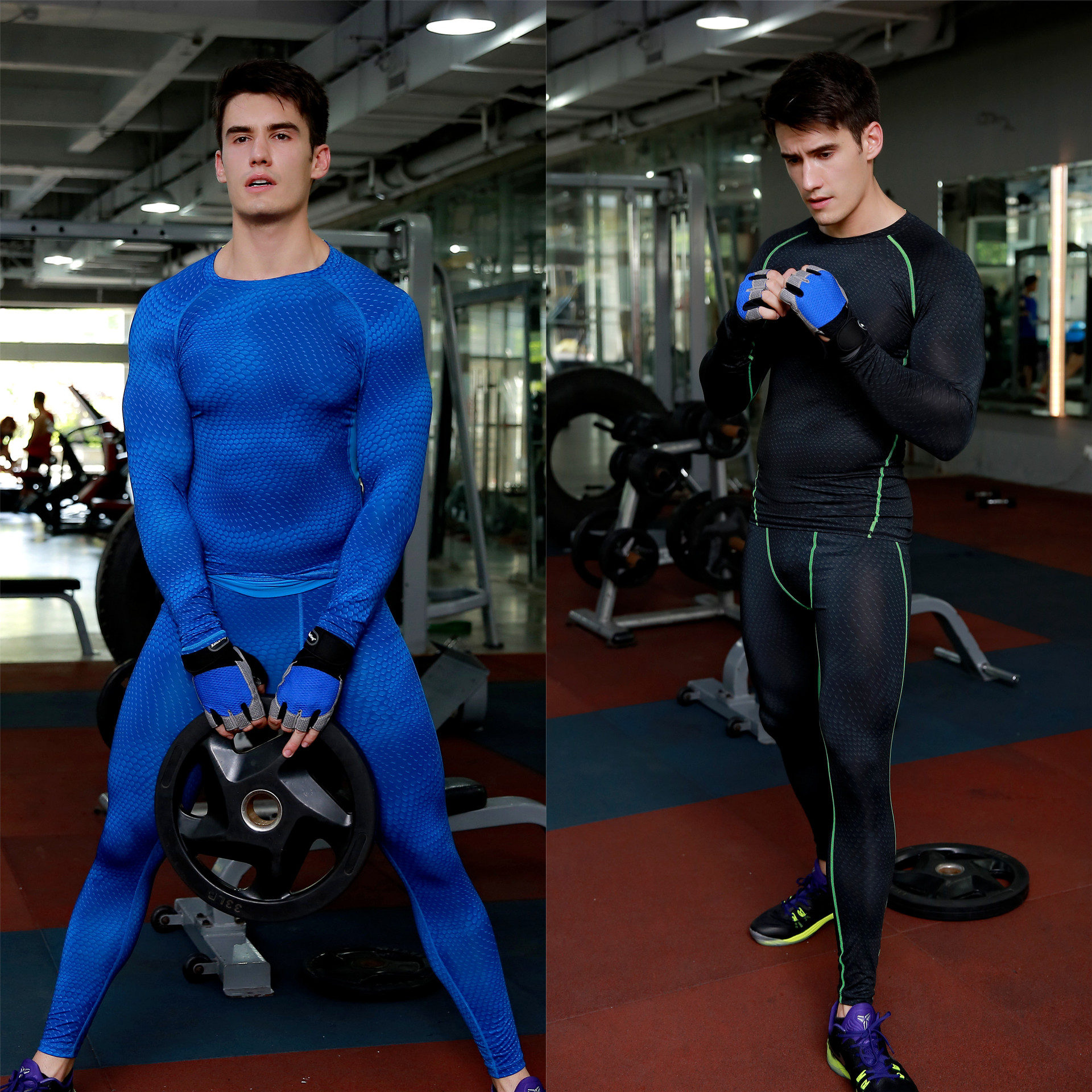 Men's Gym Wear basketball running training pants For Gym Wear stretch compression trousers sports trousers nine points