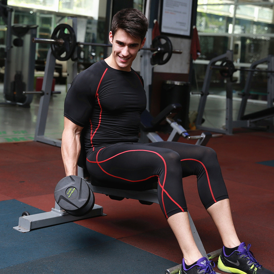 Sports clothing skin tight yoga pants tights seven points blank jogger sports pants men