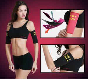 Women sauna slimming arm shaper fat burn calories off sweat supporter body beauty belt shapewear