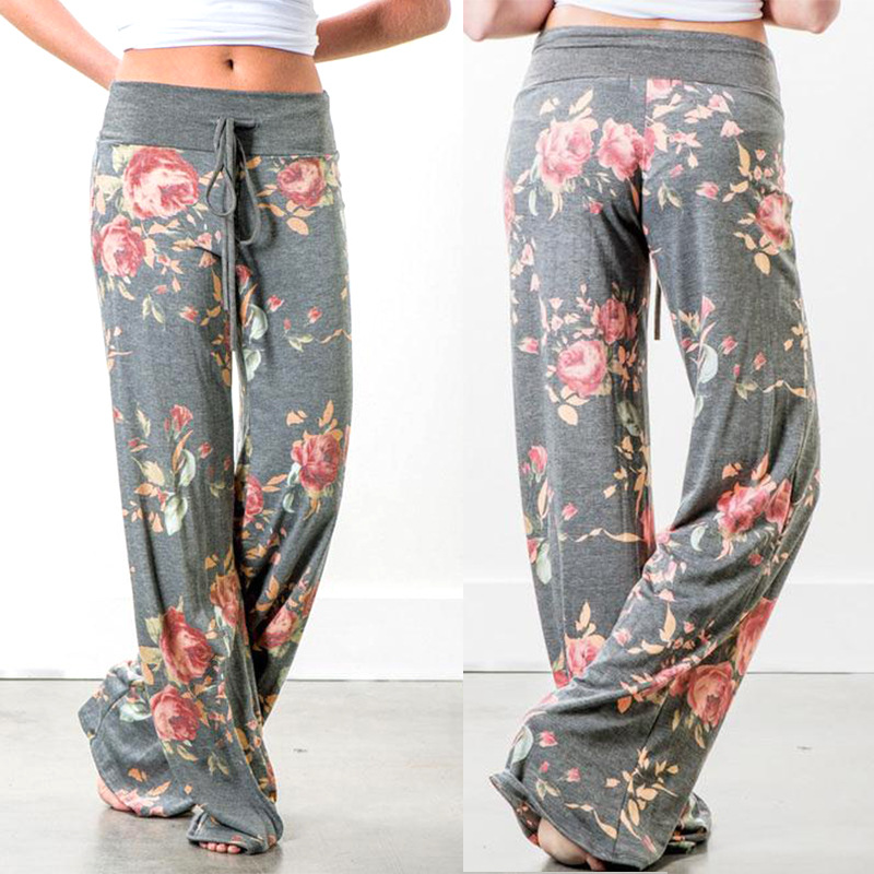 Wholesale fitness clothing Women elastic wide legs pants ladies Yoga pants