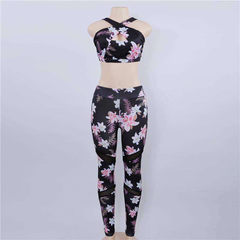 Women's fashion plants printed stitching mesh tight long yoga pants fitness yoga sports leggings