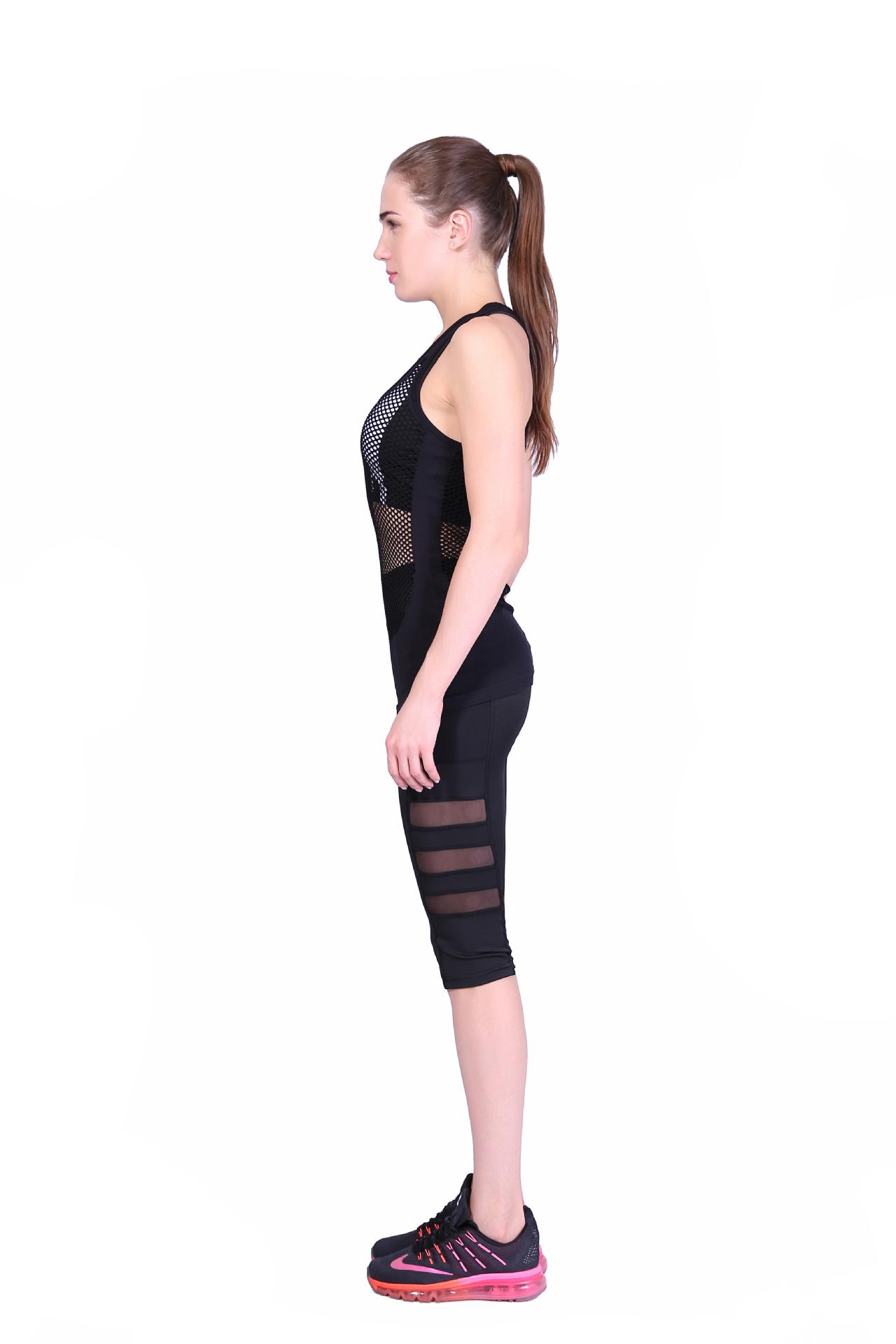 Women power stretch bottom mesh striped running workout yoga pants