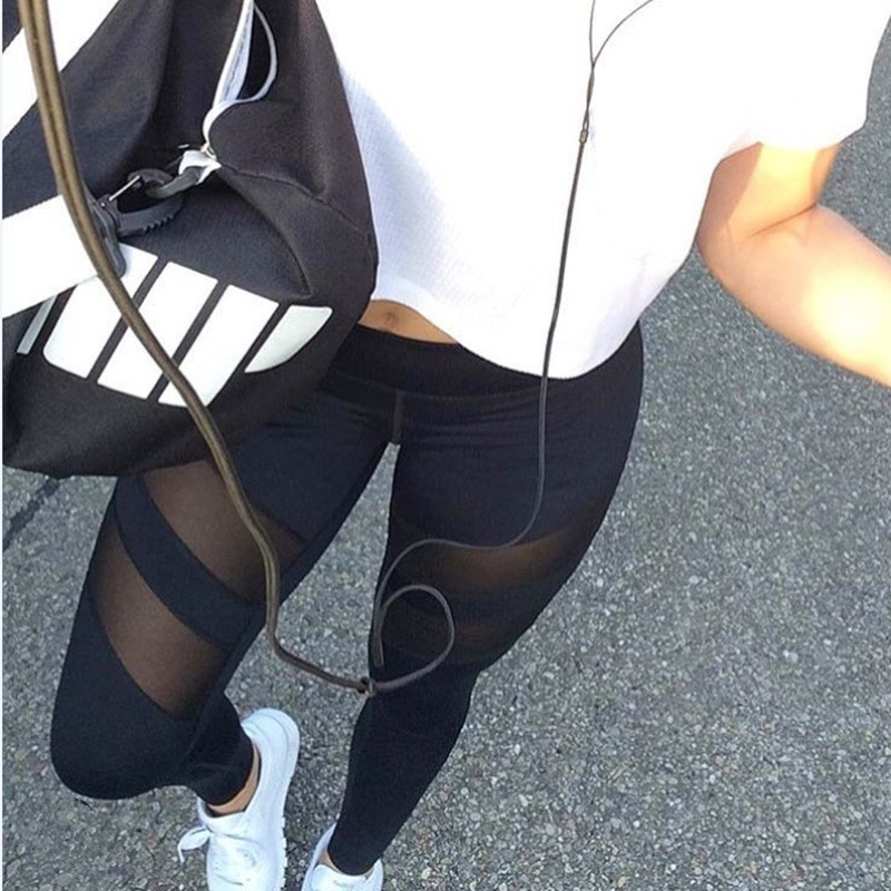 Custom mesh leggings high waist casual tight sports stitching fitness yoga pants