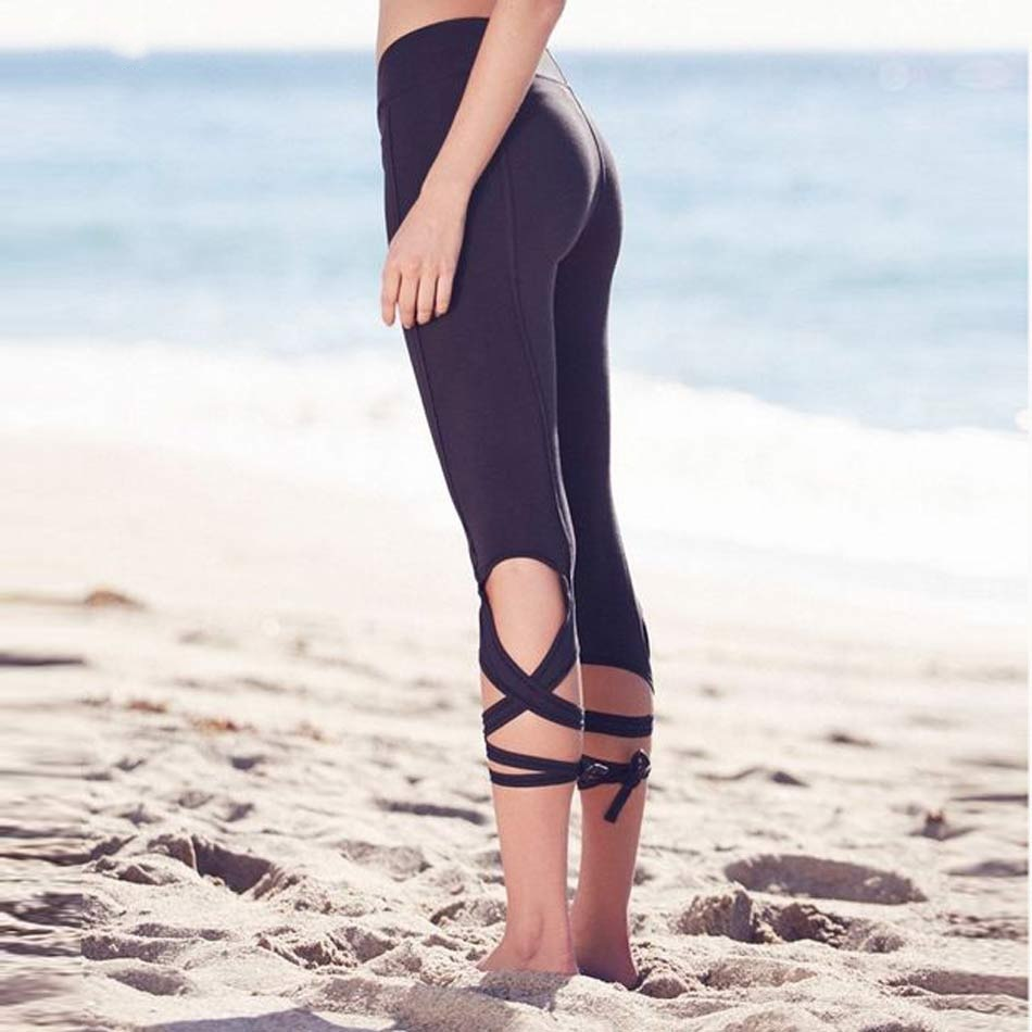 Elegance lace up yoga pants ballet tights yoga pants