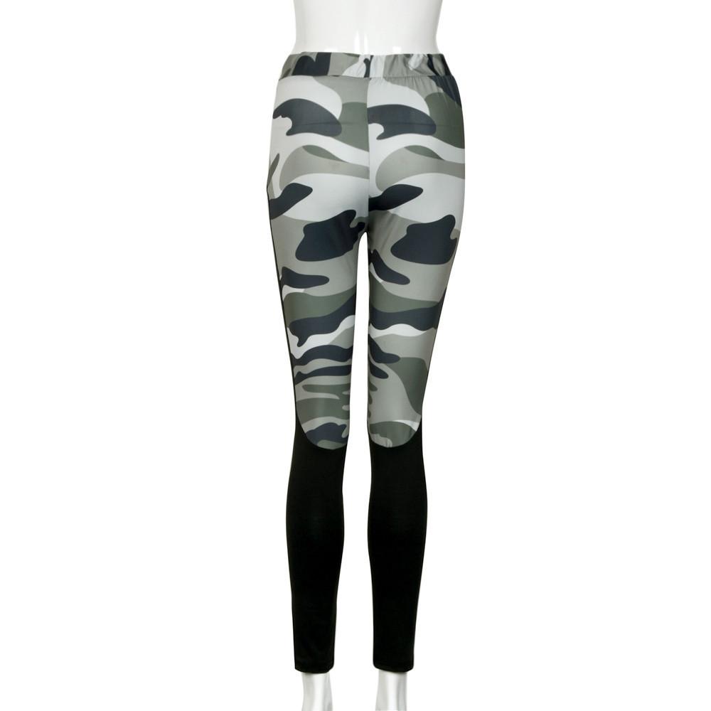 Fitness camo splicing women slim high waist casual sports tights yoga pants