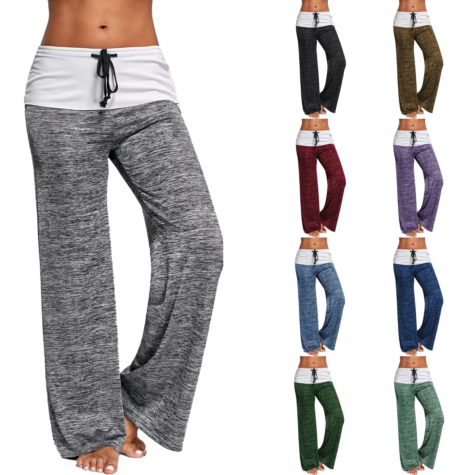 Wholesale ladies fitness sports outdoor wide leg comfortable quick dry yoga wear pants