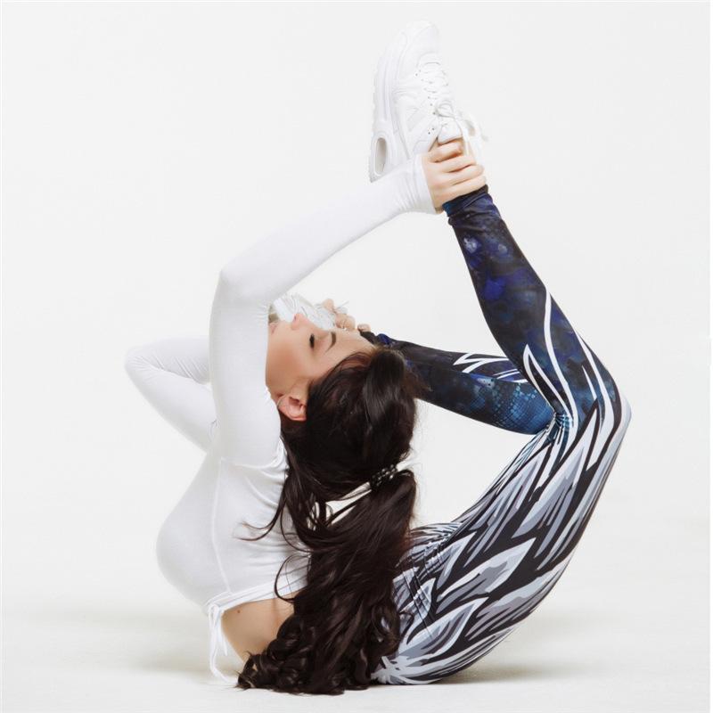 Angel wings printed yoga wear sports casual yoga pants