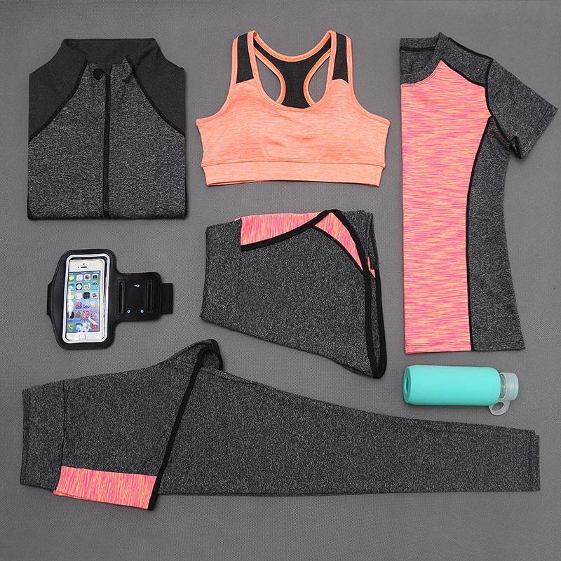 OEM factory supplier lady sport suit 5pcs sports set women