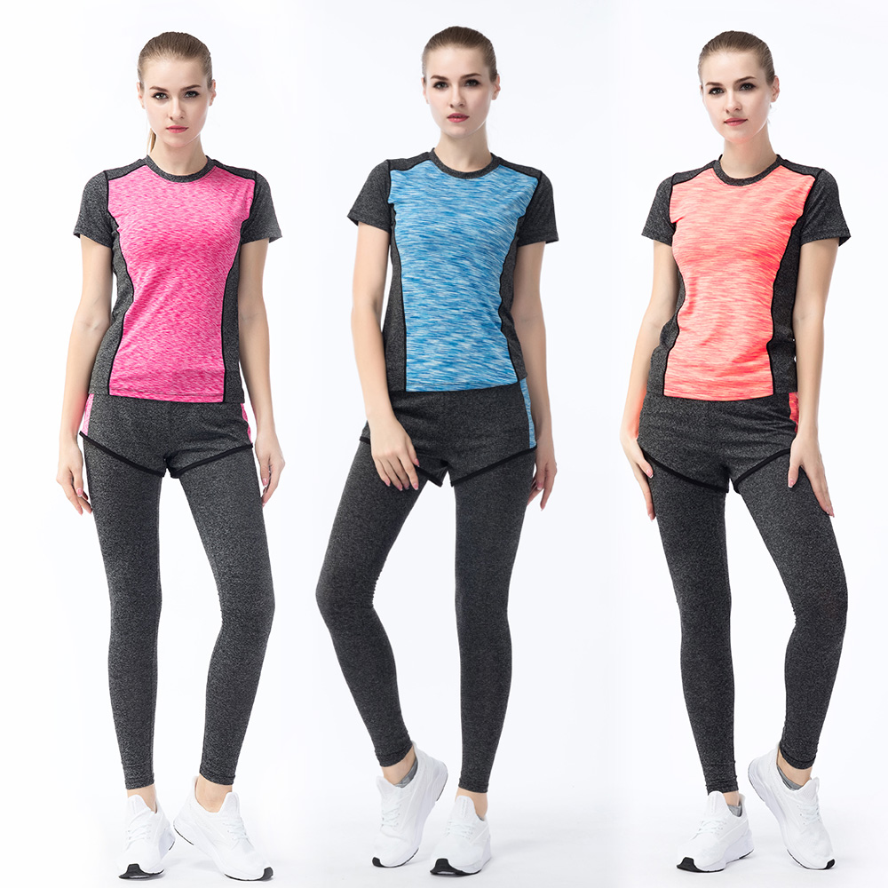 New fashion best price colorful shirt bra and legging set women sports suit
