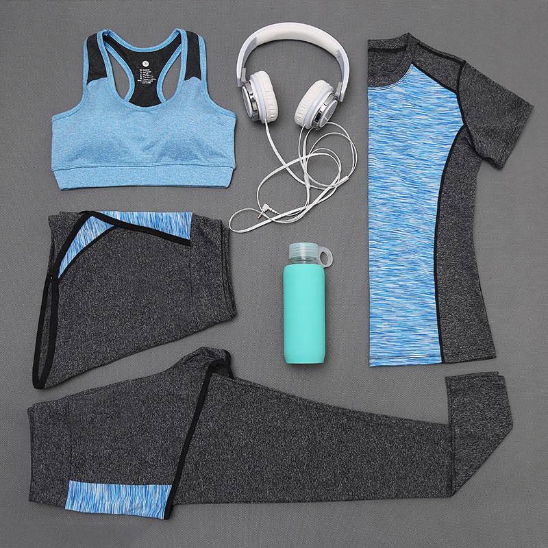 Factory supplier best price polyester breathable 4pcs set women sports suit