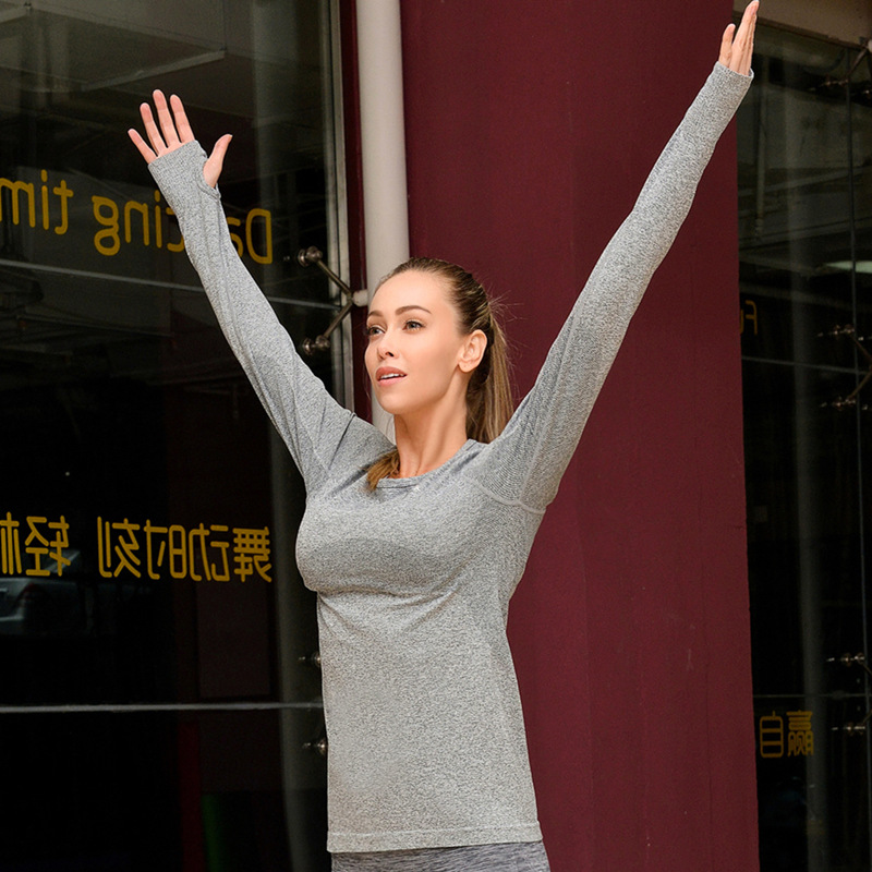 Wholesale gym clothing women sportswear OEM breathable round neck quick dry fitness long sleeve t shirt