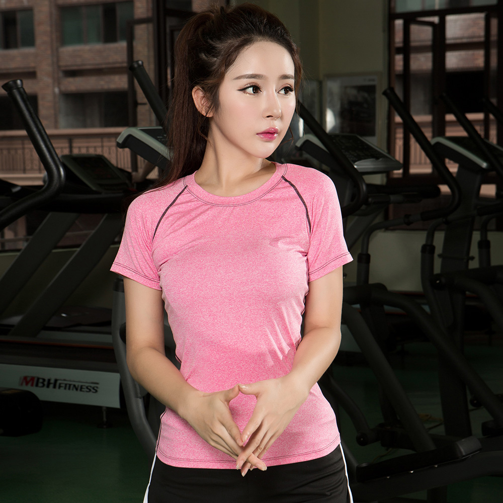 New fashion colourful 95% polyester breathable fit women sports t-shirt