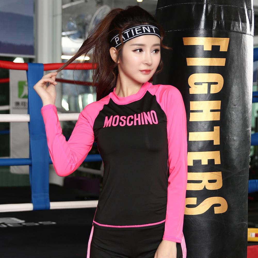 New fashion long sleeve yoga spandex tops women gym shirt