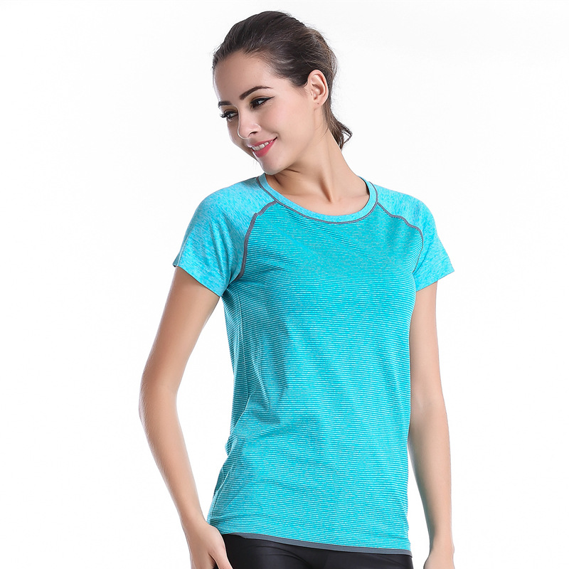 China Wholesale Warming perspiration quick Dry Fit High Quality T-shirt yoga fitness running exercise short sleeved
