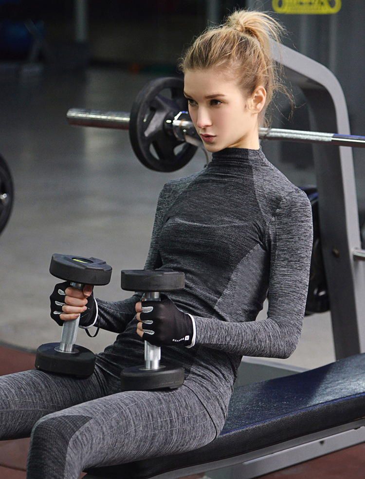 Exercise women long-sleeved fitness tights running training high stretch dry yoga jacket Sports T-shirt Fitness Wear