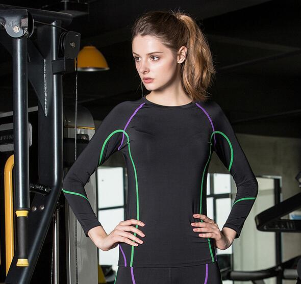 Tight T- Shirt Female Long Sleeved Compression Women Shirt Black Wicking joggers Stadium Tshirt