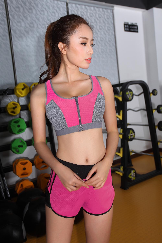 Women Zipper Sports Bra Push Up Shockproof Top Underwear with Inner Pad Running Gym Fitness Jogging Yoga shirt